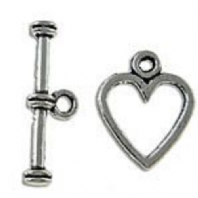 12 Sets Tibetan Silver 12x14mm Heart Clasps